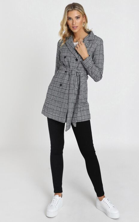 Stay Beside Me Coat In Grey Check