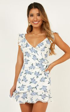 Weight Of The World Dress In Blue Floral
