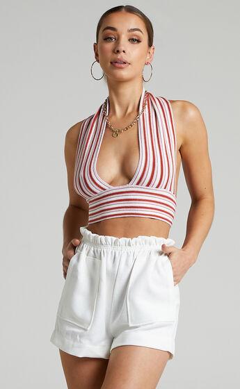 Moura Paper Bag Elasticated Tweed Short in Cream