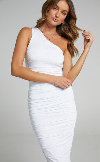 Rosy Slinky One Shoulder Maxi Dress in White