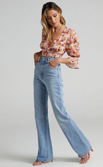 Cross The Line Wrap Crop Top in Sahara Ditsy Floral Print