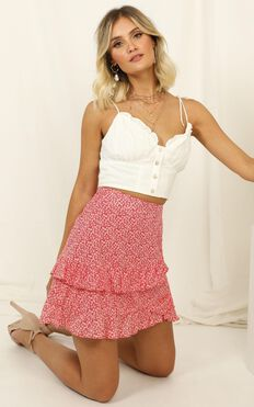 Match My Vibe Skirt In Red Floral