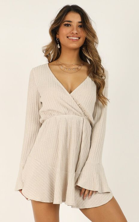 The Next Step Dress In Beige Marle