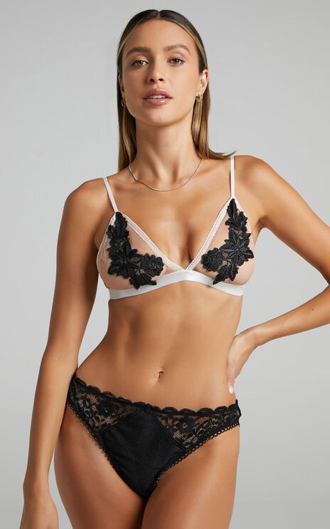 Izabelle Floral Applique Mesh Bralette In Nude and Black