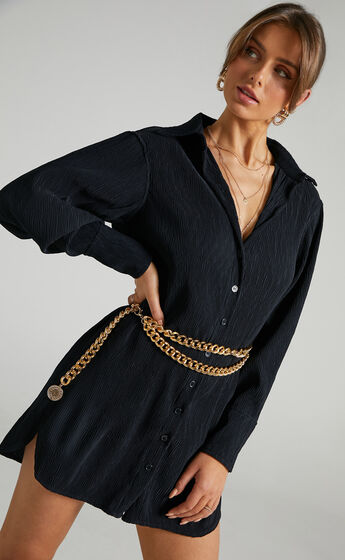 Simae Textured Button Up Shirt Dress in Black