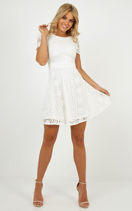 Gentle Nudge Dress In White Lace