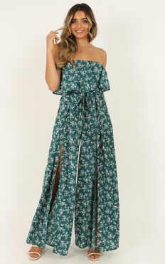 A Star Is Born Jumpsuit In Sage Floral