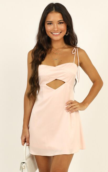 Only You Cut Out Mini Dress in pink satin  - 12 (L), Pink, hi-res image number null