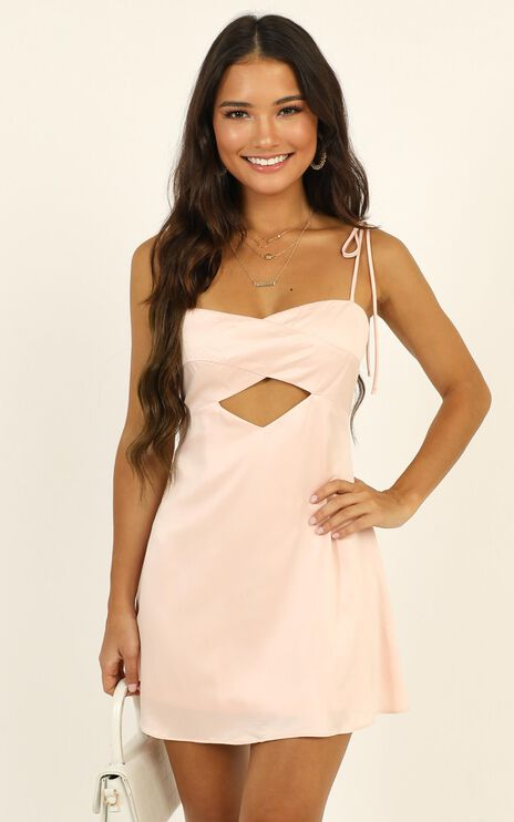 Only You Cut Out Mini Dress In Pink Satin