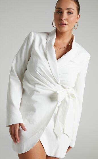 Rosia Wrap Style Blazer Dress in White