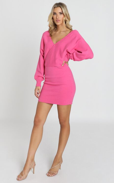 Midnight Confessions Knit Dress In Hot Pink