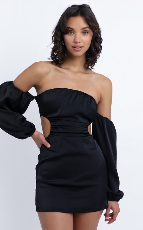 Caitlyn Cut Out Side Mini Dress In Black Satin