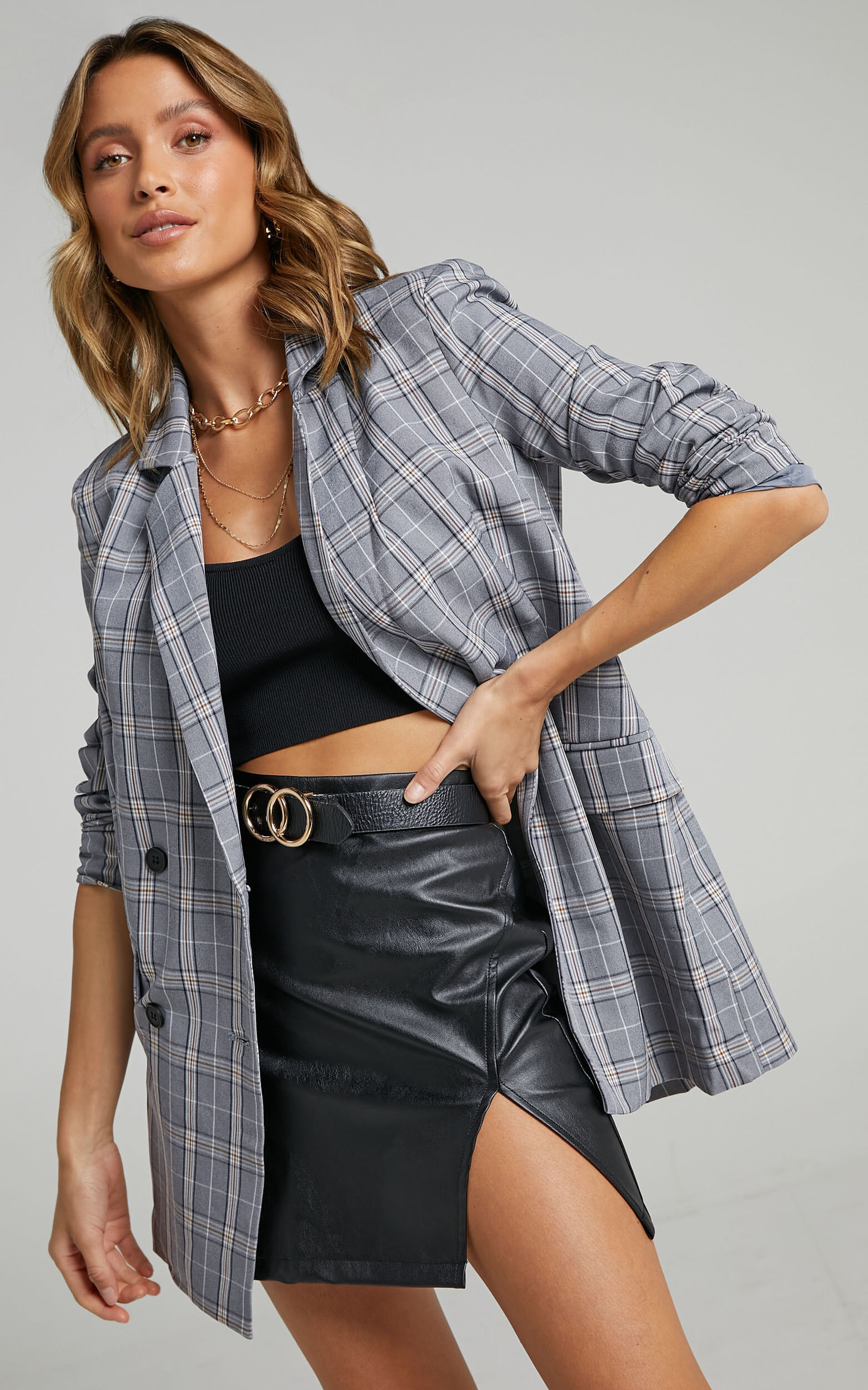 All Grown Up Blazer in Grey Check - 20, GRY2, super-hi-res image number null