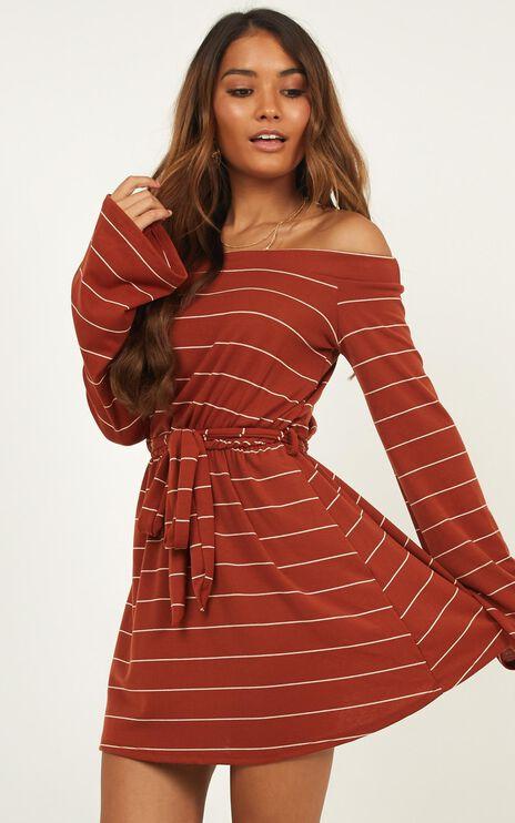 Beating Heart Dress In Rust Stripe
