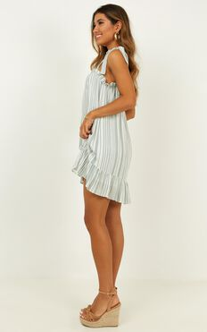 Together For Now Dress In Sage Stripe