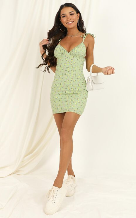 Come Towards Me Dress In Green Floral