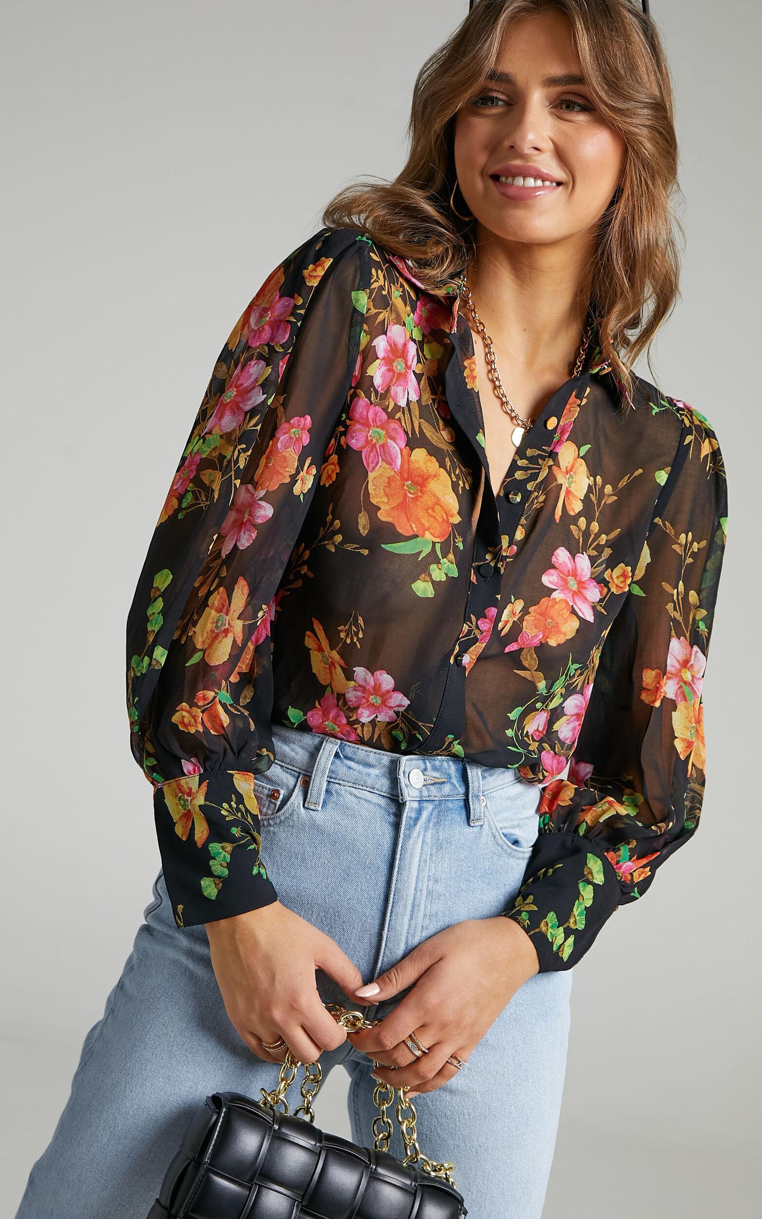Runaway The Label - Kimancy Shirt in Black floral - L, BLK1, super-hi-res image number null