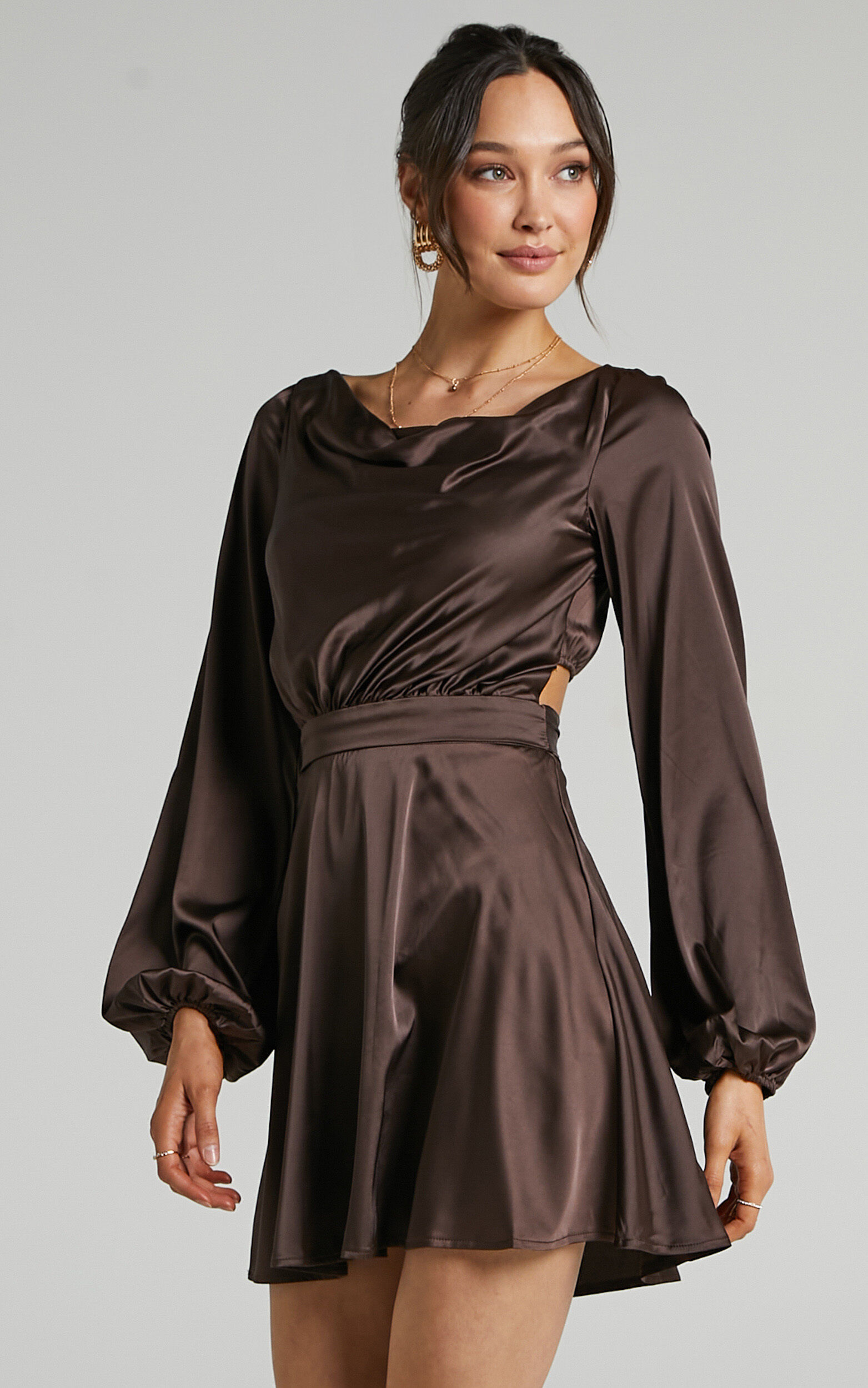Lupe Cowl Neck Satin Mini Dress in Chocolate Satin - 06, BRN1, super-hi-res image number null