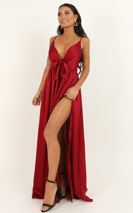 Miracle Worker Dress In Wine Satin