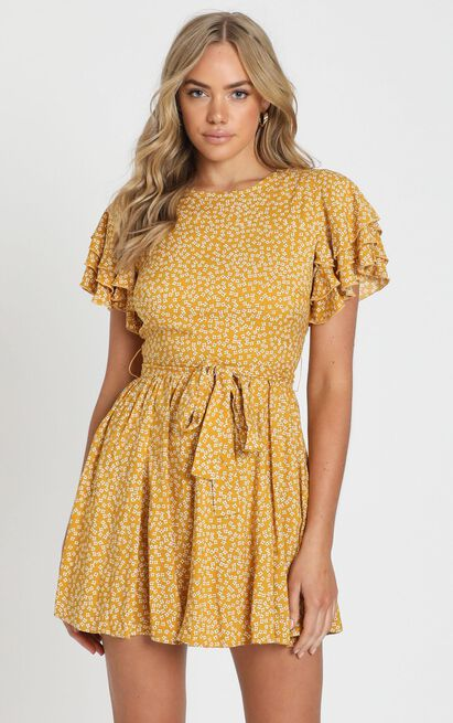 Little Thriller Dress in mustard floral - 14 (XL), Mustard, hi-res image number null