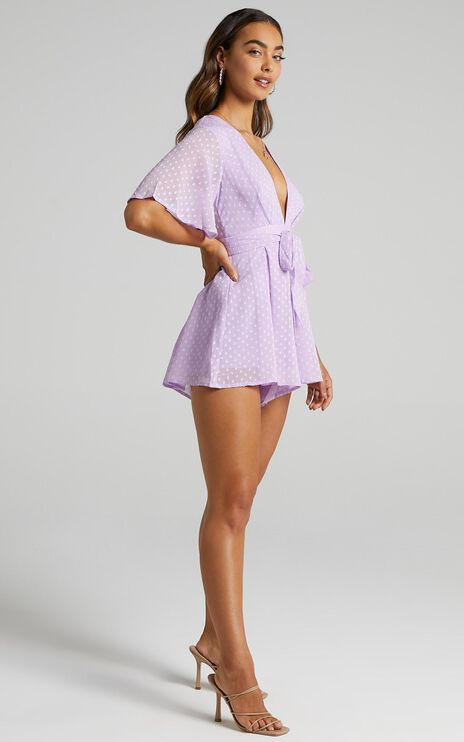 Chains Hit My Chest Playsuit in Lilac