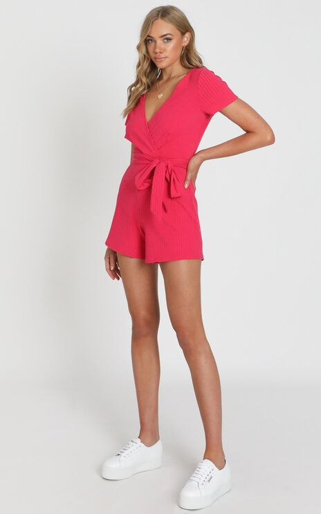 Star Gal Playsuit In Hot Pink Rib