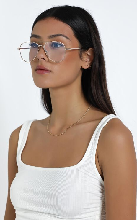 Mink Pink - Hot Tropic Blue Light Glasses in Bright Gold