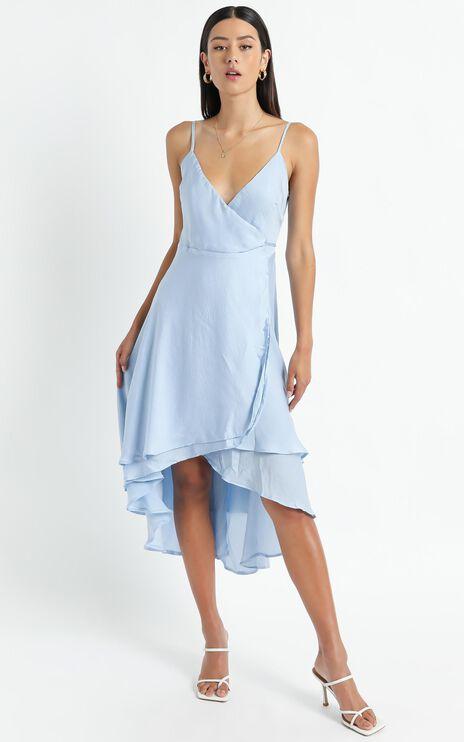 Between Fantasy Dress In Light Blue Satin