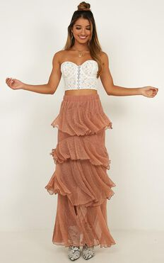 Storms And Saints Skirt In Rose Gold Mesh