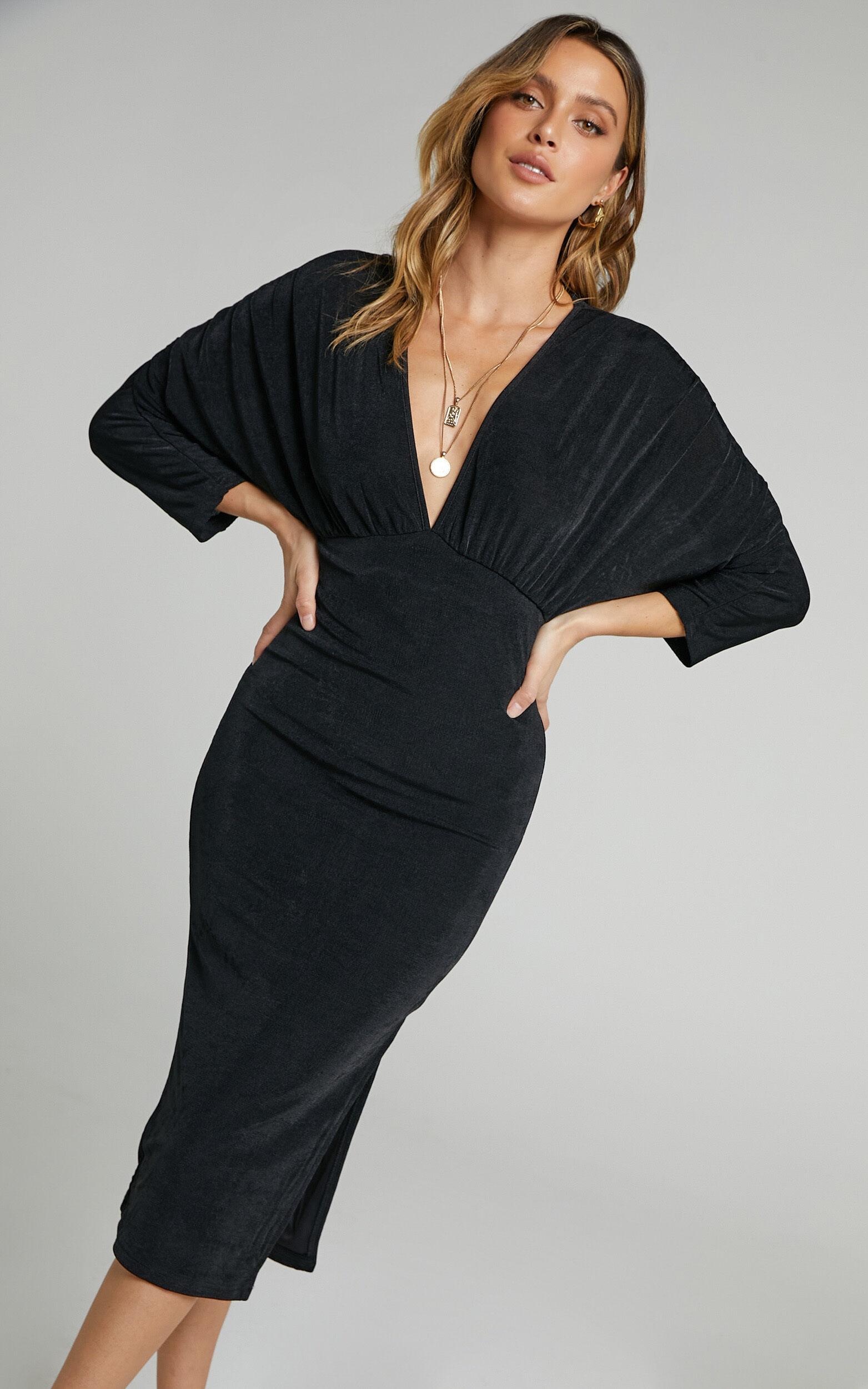 Rosie V Front Midi Dress with Side Split in Black - 06, BLK1, super-hi-res image number null