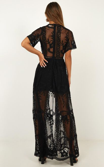 Lets Get Loud Maxi Playsuit In Black Lace - 4 (XXS), Black, hi-res image number null