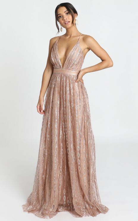 Romantic Night Maxi Dress In Rose Gold Glitter