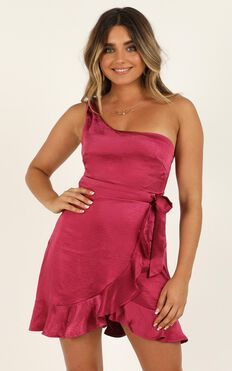 Faking Happy Dress In Berry Satin