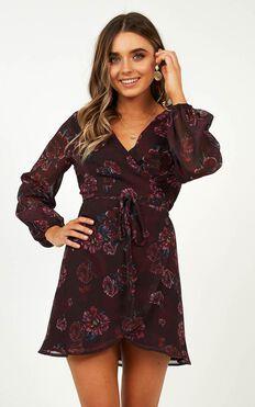 On Your Pedestal Dress In Wine Floral