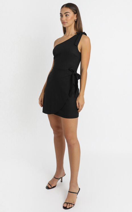 Keeping It Together Dress In Black Linen Look