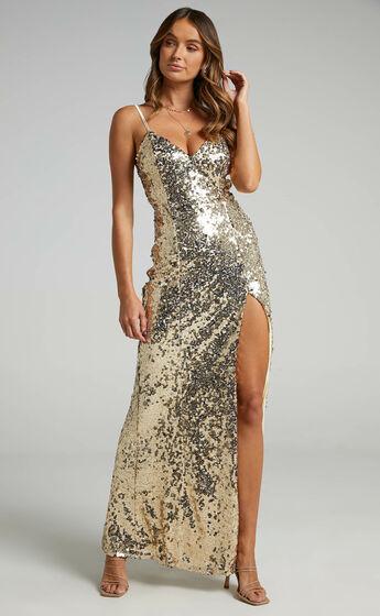 Mikela Dress in Gold Sequin