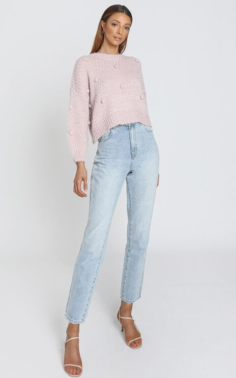 Sia Bobble Knitted Jumper in Blush