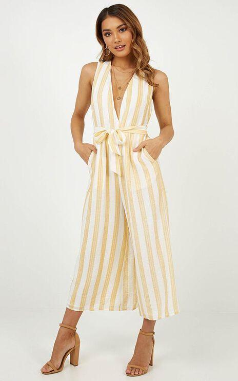 A Wannabe Jumpsuit In Lemon Stripe Linen Look