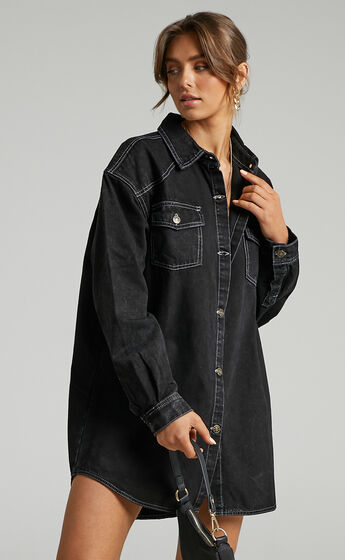 Lioness - Heavy Metal Shirt Dress in Black