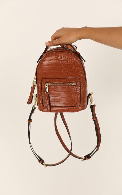 Peta and Jain - Zoe Mini Backpack In Tan Croc, Tan, hi-res image number null