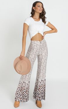 Rafael Flared Pants In Cream Floral