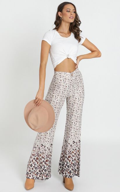 Rafael Flared Pants in cream floral - 14 (XL), Cream, hi-res image number null