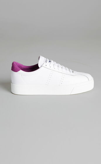 Superga - 2854 Club S 3 Leather Sneakers in White Fuchsia