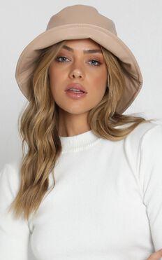 Fashion Empire Vegan Leather Bucket Hat In Beige