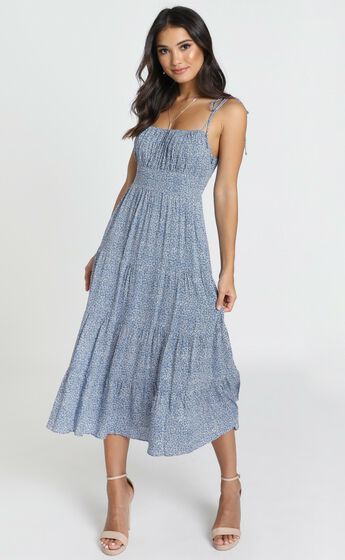 Agyness Tie Strap Midi Dress in Navy Floral