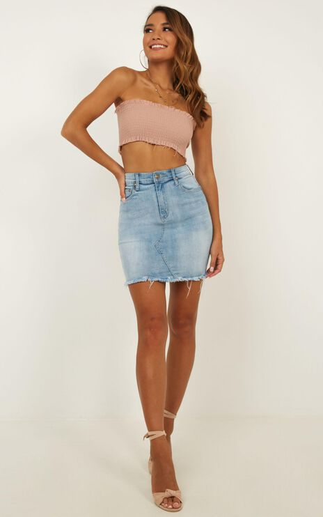 Ready And Willing Denim Skirt In Light Wash