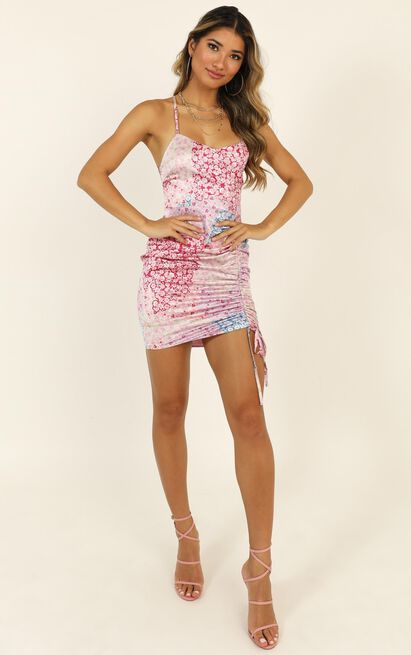 Feeling Fabulous Dress in pink floral satin - 14 (XL), Pink, hi-res image number null