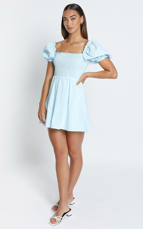 Mulberry Dress in Blue Linen Look