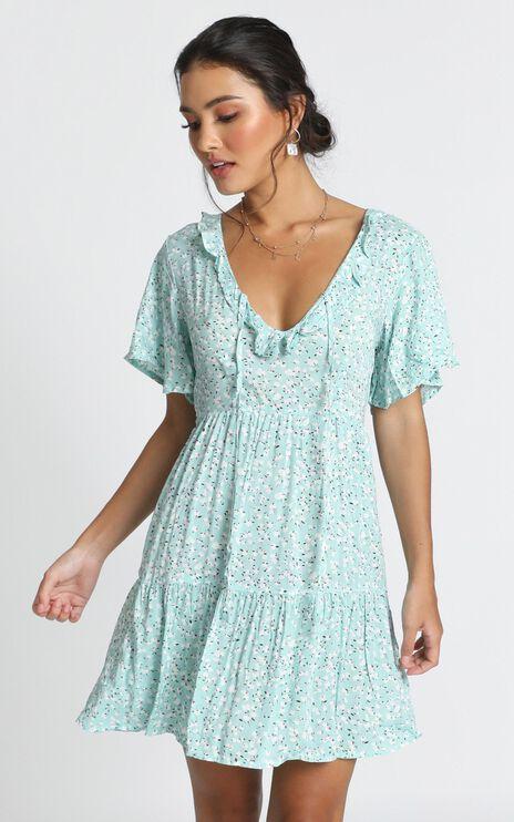 Kirby V-Neck Mini Dress In Blue Print