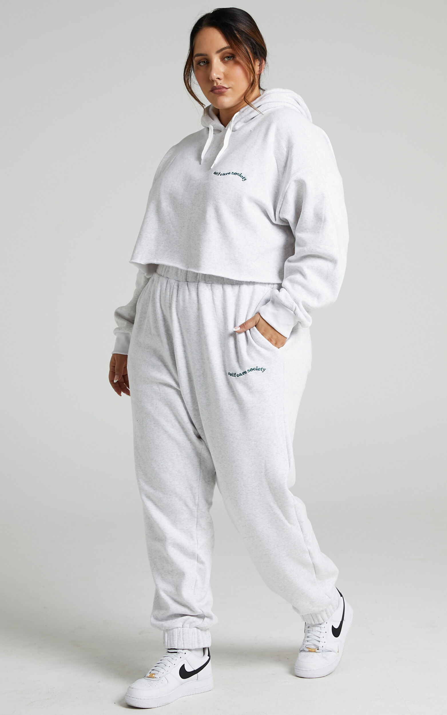 Sunday Society Club - Marianne Crop Hoodie in White Marle - 04, WHT1, super-hi-res image number null